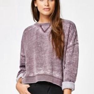 Faded Cropped Purple Crewneck